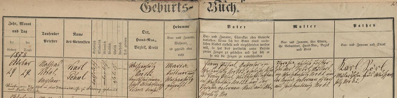 Záznam o jeho narození v křestní matrice farní obce Bělá nad Radbuzou