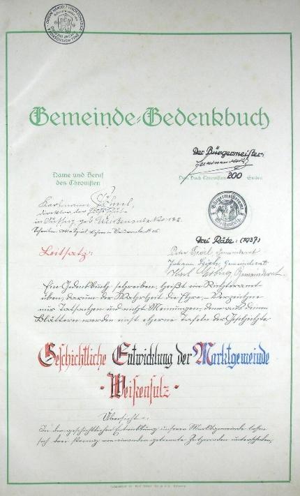 Titulní list kroniky města Bělá nad Radbuzou s jeho podpisem