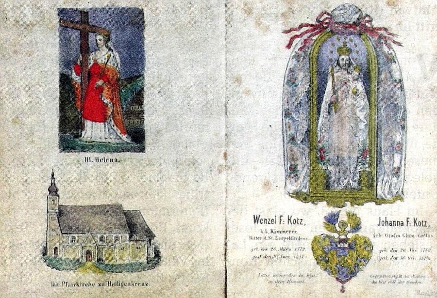 Parte barona Václava Koce z Dobrše zachycuje i podobu kostela v Újezdě Svatého Kříže před velkým požárem v roce 1859 a oltářní obraz Nalezení Svatého kříže sv. Helenou