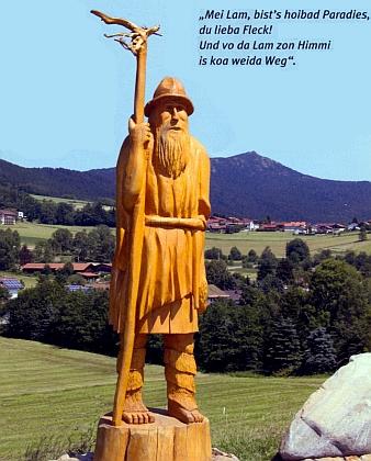 """Obr z Ostrého, legendární postava pověstí z """"Lamského kouta"""", zde v podobě, jakou mu dal ve své dřevěné skulptuře Matthias Seidl"""
