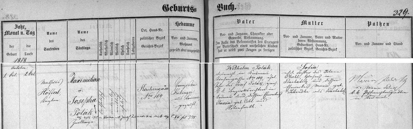 Záznam českokrumlovské křestní matriky o narození dvojčat Maximiliana a Josephy Polákových
