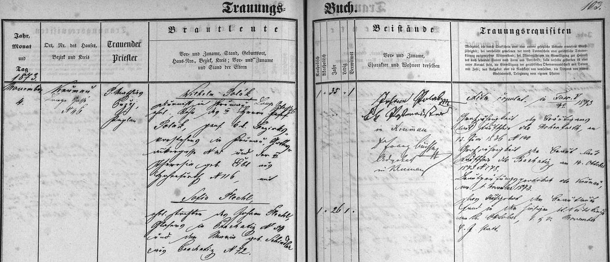Záznam českokrumlovské oddací matriky o svatbě jeho rodičů, jimž byli za svědky poštmistr Johann Polak a advokát Dr. Franz Büchse, pozdější městský kronikář