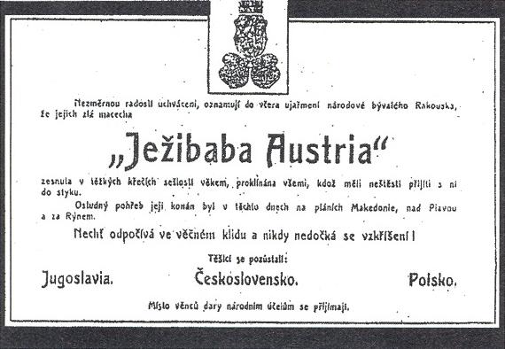 "Této škodolibé české radosti nad zánikem ""Ježibaby Austrie"" se už dožít nestačil"