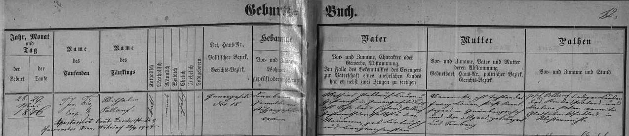 """Narodil se podle záznamu v matrice farní obce Kvilda v rodině Mathiase Pollaufa, hostinského v Horské Kvildě čp. 18 (i jeho otec Erhard Pollauf a jeho žena, roz. Bartouschová z Kašperských Hor měli hospodskou živnost), a jeho ženy Veroniky, roz. Bauerové (její otec Franz Bauer byl knížecí """"Kanalheger"""", tj. """"kanální hajný"""") z Grünbergerhofu, dnes zaniklé vsi blízko Srní, značené na mapách česky Zelená Hora, jako přilehlé vsi Obergrünberg a Untergrünberg, rovněž dnes zaniklé (Veroničina matka Agnes, roz. Bayerlová, pocházela z rovněž dnes zaniklé vsi Slunečná /Sonnberg/)"""