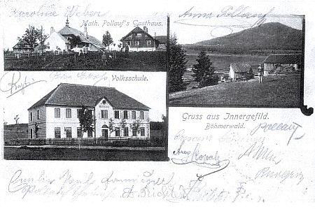 Pohlednice Horské Kvildy s Pollaufovým hostincem a podpisy Pollaufových (viz i Johann Luksch)