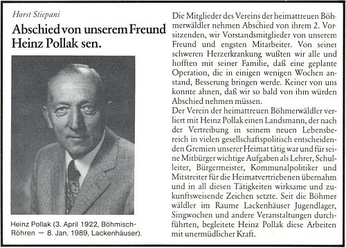 Úvod nekrologu v krajanském měsíčníku, kam jej napsal Horst Stiepani