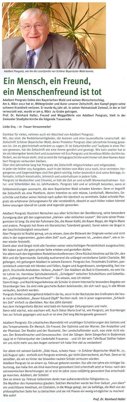 Na stránkách časopisu, kam po léta pilně přispíval, se objevil po jeho smrti tento nekrolog, jehož autorem je Reinhard Haller