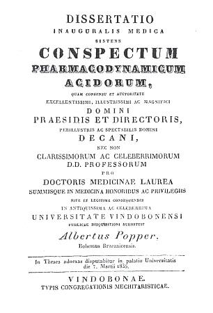 Titulní list (1835) jeho vídeňské disertace