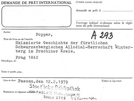 Žádanka mezinárodní meziknihovní výpůjční služby o jeho knižní titul z roku 1979