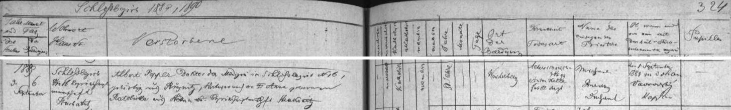Záznam vimperské úmrtní matriky o jeho skonu nás zpravuje o i tom, že byl vdovcem po Anně, roz. Ratoliskové zeŠtěkně a že zemřel na stařeckou slabost