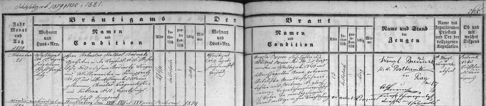 Tady nacházíme při záznamu vimperské oddací matriky o svatbě Bohuslava Adalberta Budinského s Popperovou dcerou Angelikou i otcův podpis