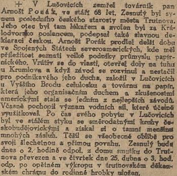 """Zpráva o smrti otcově v Národních listech, kde je zmíněn i Eugenův děd, """"poslední český starosta"""" města Trutnova"""