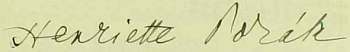 Podpis Henriette Porákové v obecní kronice dnes zaniklých Krásných Polí (Schönfelden)