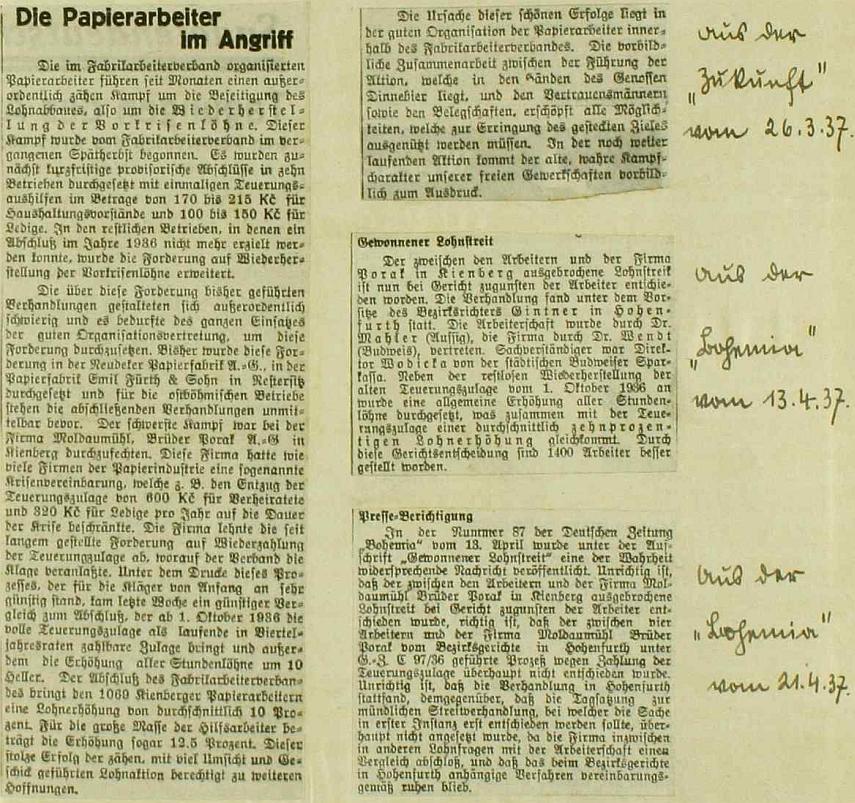 Vlepené výstřižky z denního tisku referují na stránkách obecní kroniky Krásných Polí o boji papírenských dělníků Porákovy firmy za udržení mezd v roce 1937