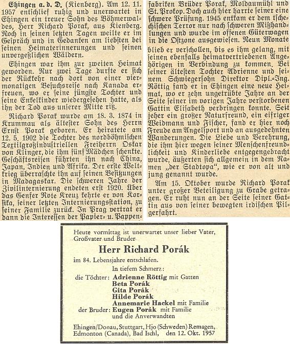 Zpráva o úmrtí a parte jeho bratra Richarda v krajanském časopise