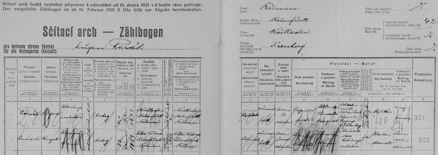 """Porákovou vlastní rukou vypsaný arch sčítání lidu z roku 1921 pro dům čp. 42 v Loučovicích uvádí vedle něho samého i komorníka Wenzela Jiráska z Velké Bukové, okr. Křivoklát, jehož národnost je označena jako """"böhmisch"""" (tedy nikoli """"tschechisch""""), ta Porákova ovšemže """"deutsch"""""""