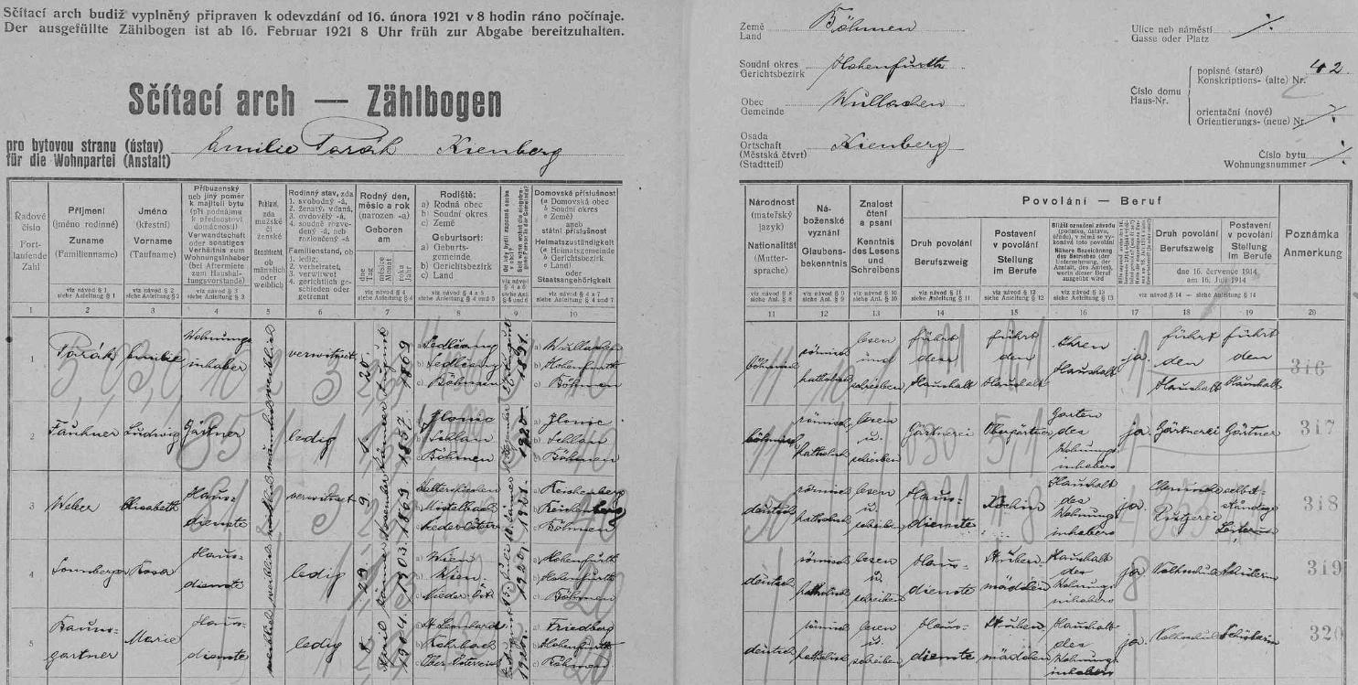 Arch sčítání lidu z roku 1921 dosvědčuje, že v loučovickém domě čp. 42 bydlila jeho už tehdy ovdovělá matka Emilie (*20. srpna 1869 v Sedlčanech) se zahradníkem a třemi služkami německé národnosti