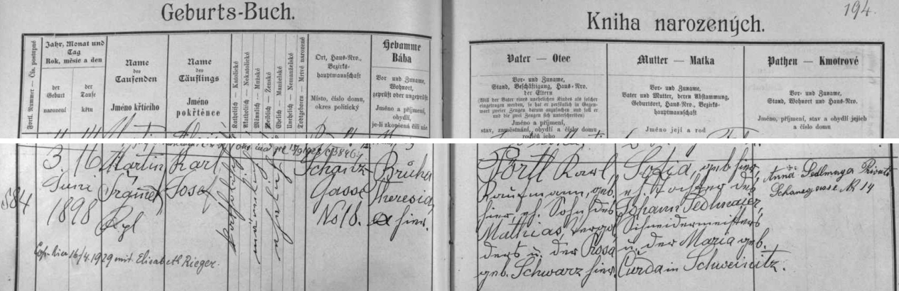 Narodil se podle tohoto matričního záznamu v Hradební ulici čp. 18 obchodníku Karlu Pörtlovi a jeho ženě Sofii (Žofii), dceři zdejšího krejčovského mistra Johanna Sedlmaiera a jeho manželky Marie, roz. Čurdové z Trhových Svinů (Schweinitz) - z jiných pramenů víme, že otec Karl starší zemřel 22. září 1936 v českobudějovickém sanatoriu Dr. Říhy a matka Žofie 11. února 1945 rovněž zde v Českých Budějovicích