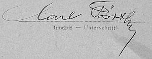 """Otec, jak vidno, psal své křestní jmébo ještě postaru """"Carl"""""""