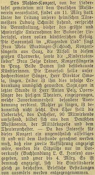 Z této zprávy v Budweiser Zeitung se dovídáme podrobnosti o jednotlivých účinkujících