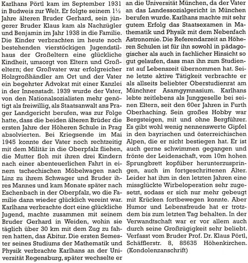 Nekrolog jeho staršího bratra Karlhanse, který Klaus Pörtl dodal pro stránky krajanského časopisu     akterý prozrazuje mnohé o osudech celé rodiny
