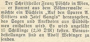 Oznámení o vydání jeho knížky ve Vídni v roce 1952