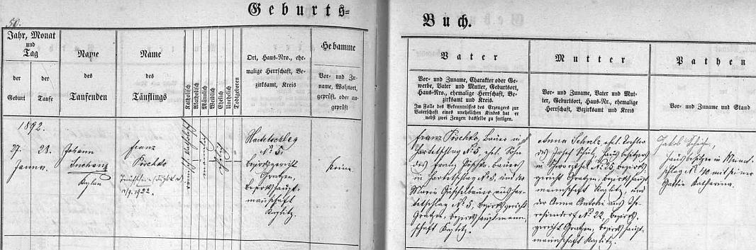 Záznam v matrice farní obce Německý Benešov uvádí, že se narodil v Hartunkově čp. 5 Franzi Pöschkovi a jeho ženě Anně, roz. Schulzové,     rodem z Černého Údolí (její maminka pocházela z Pohorské Vsi)