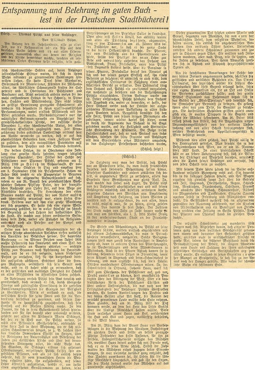 V Budweiser Zeitung mu za druhé světové války věnoval rozsáhlejší text Wilibald Böhm