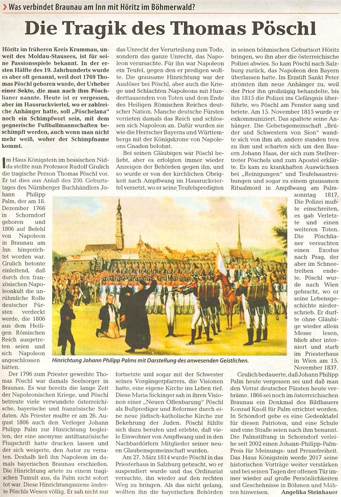 Novější článek Angeliky Steinbauerové o něm provází zpodobení popravy Johanna Philippa Palma za účasti duchovního