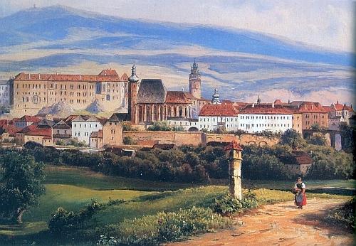 Veduta Aloise Kirniga z roku 1862 zachycuje starší podobu věže kostela sv.Víta a na obzoru Kleť     s tehdy výraznou siluetou schwarzenberské rozhledny na jejím vrcholu
