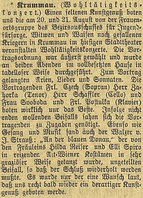 Zpráva o dobročinném koncertu ve prospěch vdov a sirotků po padlých vojácích, který se konal     v Krumlově 20. a 21. srpna 1918 i za jejího klavírního doprovodu