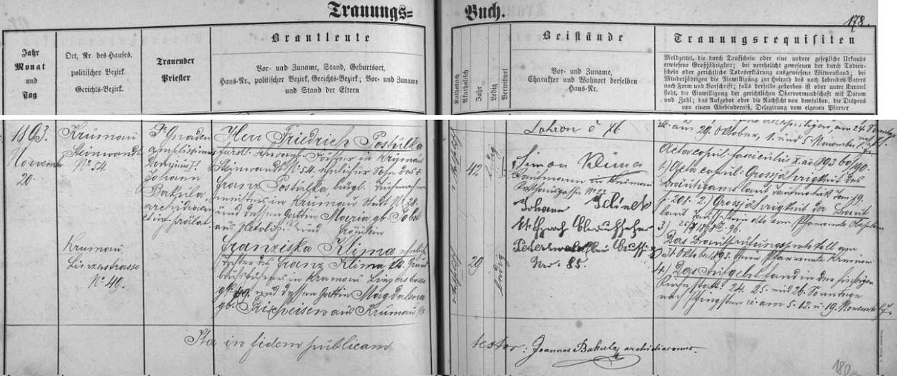 Záznam o svatbě jejích rodičů v českokrumlovské oddací matrice
