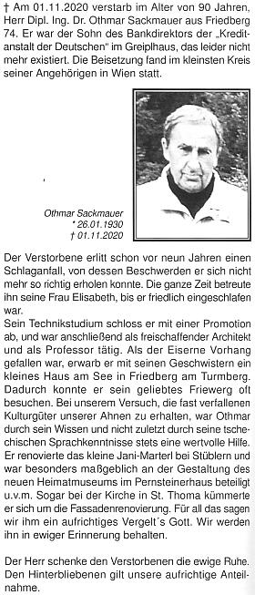 Nekrolog Dr. Othmara Sackmauera na stránkách krajanského měsíčníku