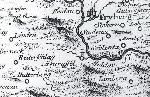 Frymburk na mapě Johanna Christopha Müllera (1673-1721), vydané s vročením 1720 v roce 1723