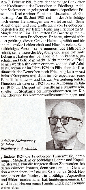 Nekrolog vedoucího frymburské filiálky bankovní instituce Kreditanstalt der Deutschen Adalberta Sackmauera,     autora obálky k její knize a otce Otthmara Sackmauera, ve Frymburku narozeného, jenž její knihu ilustroval