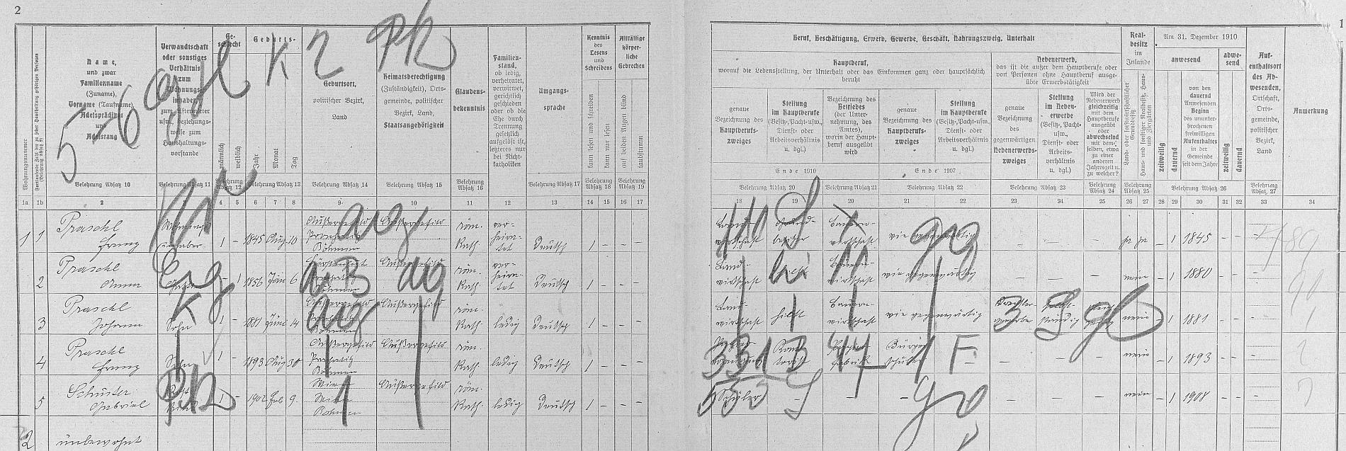 Arch sčítání lidu pro stavení čp. 23 na Kvildě s rodinou Praschlovou, tj. i s ním