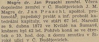 Zpráva o jeho úmrtí v českobudějovickém protektorátním tisku
