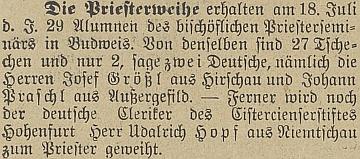 Zpráva o jeho kněžském svěcení dokumentuje i českoněmecké vztahy na konci 19. století
