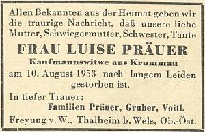 Matčino parte z roku 1953 na stránkách krajanského měsíčníku