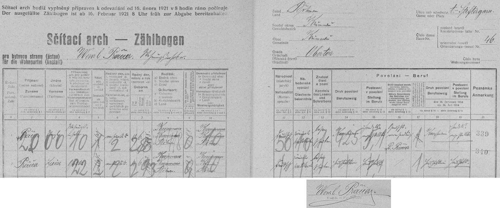 Otcem podepsaný arch ke sčítání lidu roku 1921 zaznamenává v domě čp. 46 na Adalbert-Stifter-Gasse pobyt jeho rodičů, obchodníka Wenzla Präuera (*11. června 1888 v Českém Krumlově) a jeho ženy Luise (*4. června 1893 v Českém Krumlově)