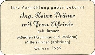 Jeho svatební oznámení z Velikonoc roku 1959