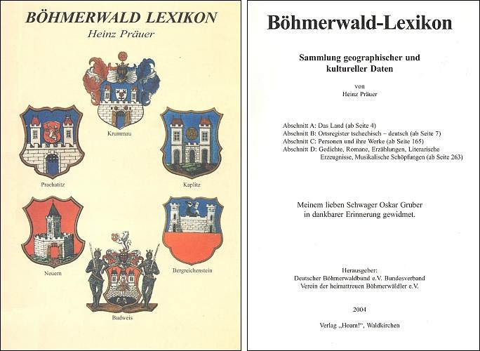 Obálka a titulní list (2004) jeho šumavského lexikonu vydaného nakladatelstvím Hoam! ve Waldkirchenu