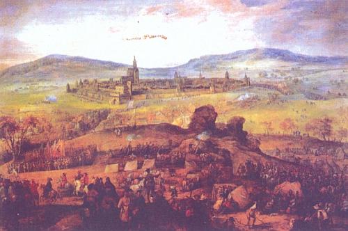 Obléhání Prachatic na počátku třicetileté války (1620) na obraze Pietera Snayerse, olej na plátně z doby po roce 1621