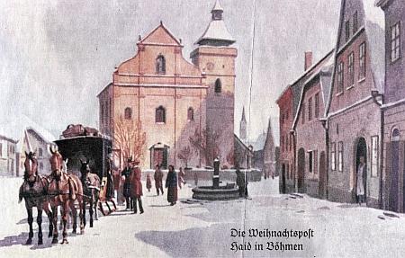 Vánoční pošta v Boru u Tachova na staré malované pohlednici