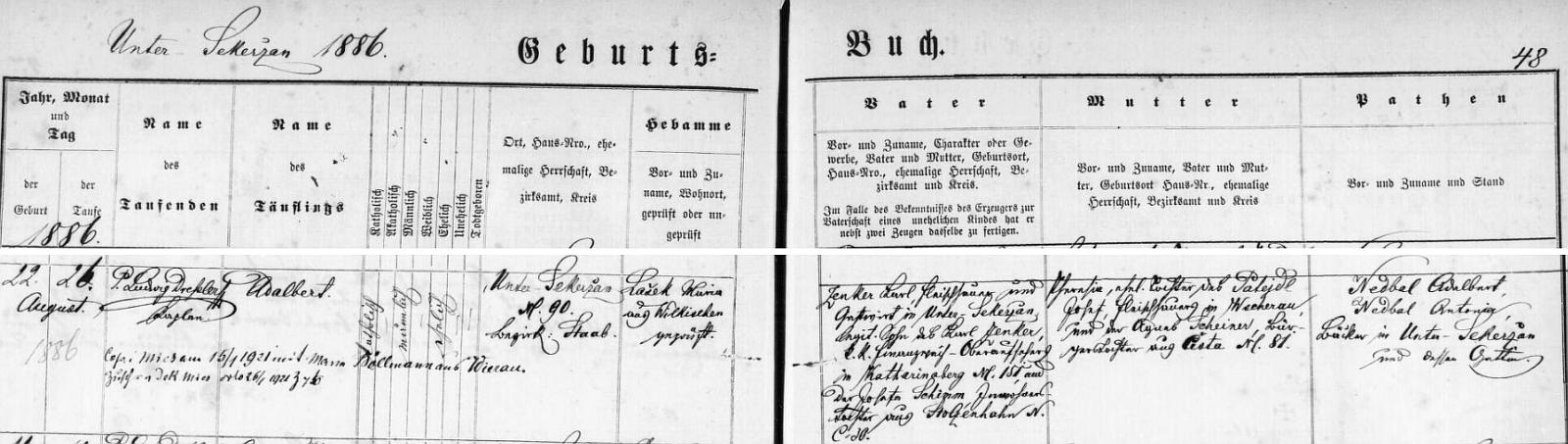 Záznam o otcově narození v hornosekyřanské matrice s pozdějším přípisem o stříbrské svatbě Hildegardiných rodičů