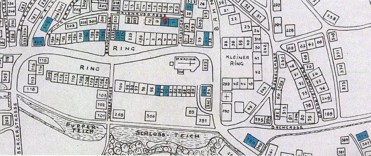 ... a plánek města s modře vyznačenými domy v židovském vlastnictví a modročerveným vyznačením modlitebny