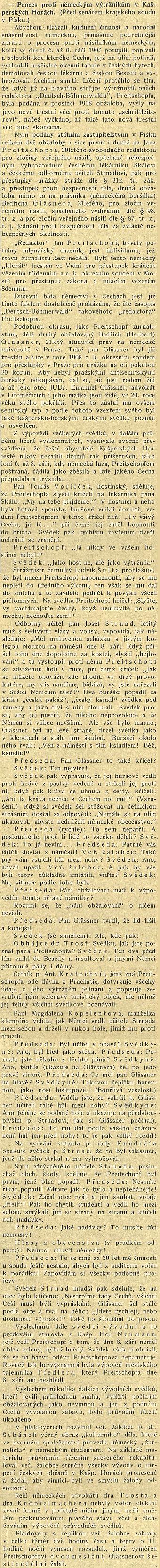 Obsáhlý referát v českém tisku o jeho odsouzení za výtržnosti na protičeských demonstracích v Kašperských Horách