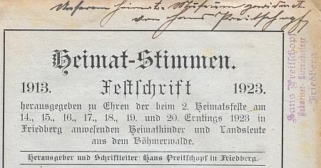Razítko při jím podepsaném věnování slavnostního sborníku z roku 1923 prozrazuje, že se ve Frymburku věnoval i prodeji budějovického piva, ovšemže z německého měšťanského pivovaru