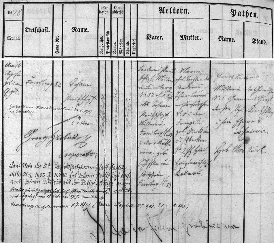 Záznam o jeho narození a také o jeho vystoupeních z katolické církve na stránkách frymburské křestní matriky