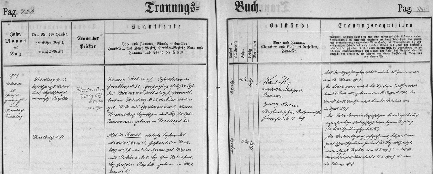 Záznam o jeho svatbě ve frymburské oddací matrice